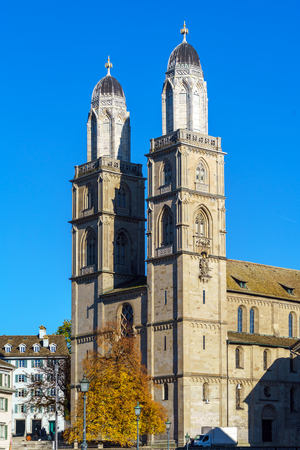 The Grossmunster Romanesque-style Protestant church, landmark of Zurich, Switzerland