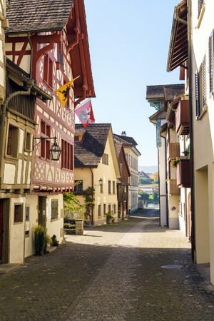 The Choligass down to the Rhine river, Stein am Rhein, Schaffhausen, Switzerland