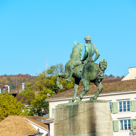 The equestrian monument to Hans Waldmann (1937), mayor of Zurich and a Swiss military leader, Switzerland