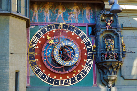 Astronomical dial of the Zytglogge, medieval clock tower landmark of Bern, Switzerland