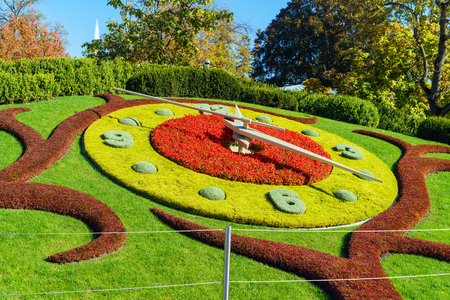 Lhorloge fleurie, or the flower clock, in Jardin Anglais park, Geneva, Switzerland