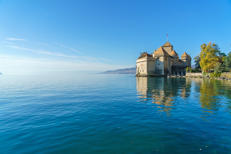 Chillon Castle on Lake Geneva in Alps mountains at autumn, Montreux, Switzerland