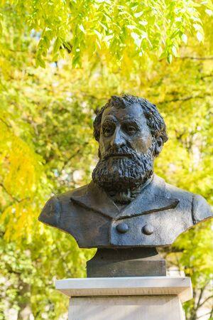 Geneva, Switzerland - October 18, 2017: Bust of jurist Gustave Moynier in the Parc des Bastions