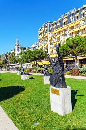 Montreux, Switzerland - October 18, 2017: Monument of musician Carlos Santana on the Jazz Alley