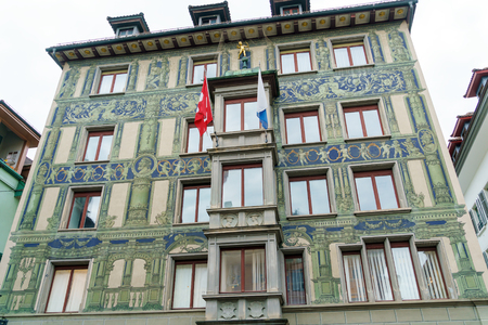 Traditional frescoed building in old city, Lucerne, Switzerland