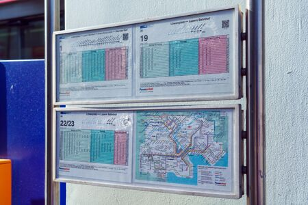 Lucerne, Switzerland - October 19, 2017: Stopping city public transport with the timetable and bus routes