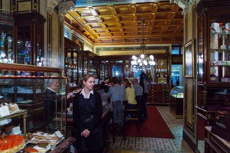 Vienna, Austria - October 22, 2017: Vintage interior of the famous confectionery cafe Demel, the inventor of the Sacher cake 新闻类图片