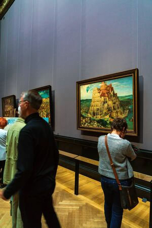 Vienna, Austria - October 22, 2017: The Tower of Babel (1563) by Pieter Brueghel the Elder in Kunsthistorisches Museum or Museum of Art History 에디토리얼