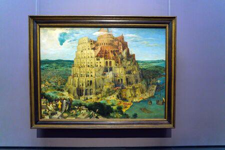 Vienna, Austria - October 22, 2017: The Tower of Babel (1563) by Pieter Brueghel the Elder in Kunsthistorisches Museum or Museum of Art History