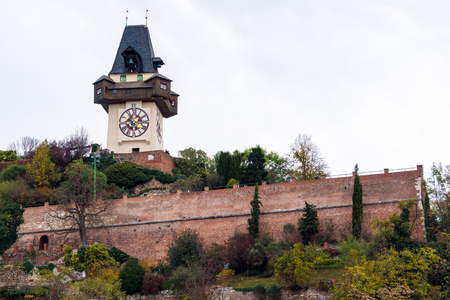 The Schlossberg or Castle Hill with the clock tower Uhrturm, Graz, Austria Editorial