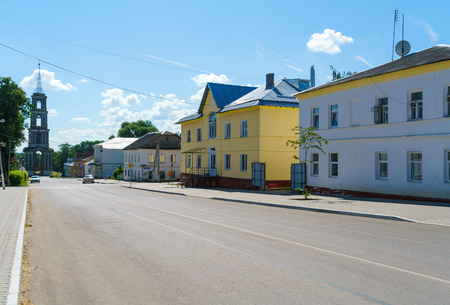 Typical merchant houses of the 19th century small provincial town and bell tower in the style of classicism, Venev, Tula region, Russia Archivio Fotografico