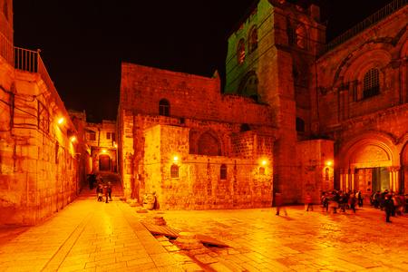 Holy Sepulchre Cathedral at Night, Jerusalem, Israel