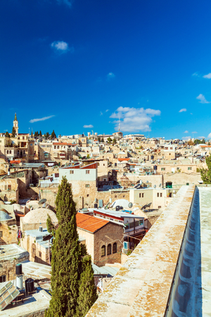 Roofs of Old City with Holy Sepulcher Chirch Dome, Jerusalem, Israel Stok Fotoğraf