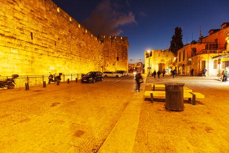 Jaffa gate of old city at night, Jerusalem, Israel