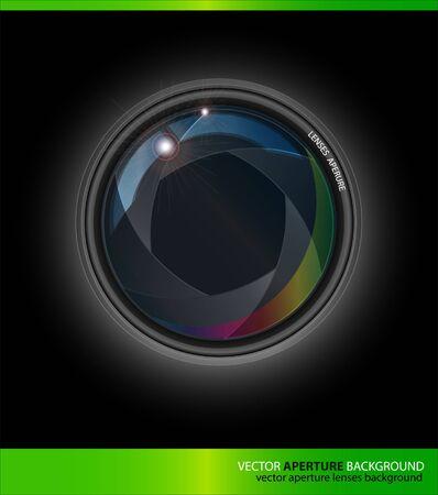 Vector Lenses Aperture on a Black Background Illustration