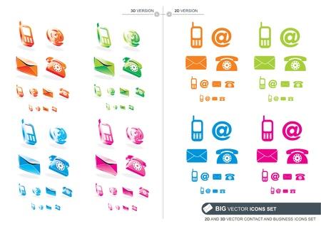 iconos contacto: Contacto Big vectorial en 2D y 3D y los iconos de negocios establecido