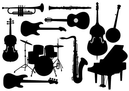 spigola: Insieme vettoriale di Musical strumenti isolati Silhouettes