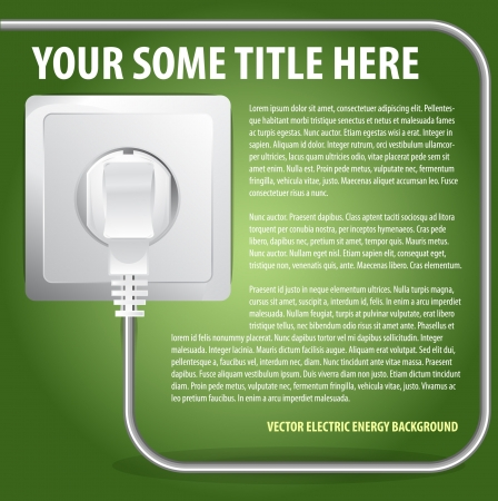 plugged: Vector Plugged Electric Cable Background For Text Illustration
