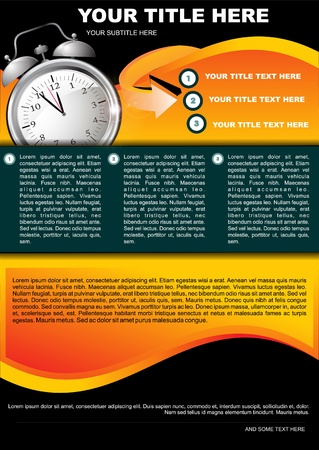 Abstract Background With Clock For Three Text Vektorové ilustrace