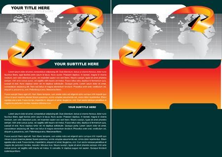 orange arrow: Brochure Background Style With World Map Illustration