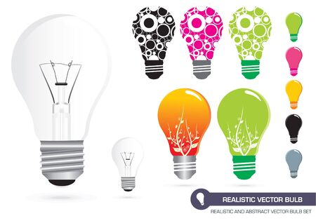 Realistic and Abstract Bulb Set Vector