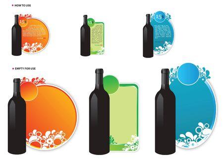 Set of Three Wine Offer Vector