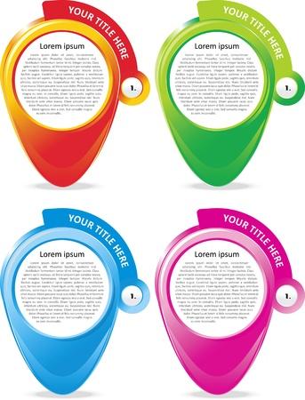 folleto: Conjunto de cuatro banderas de colores para el texto Vectores