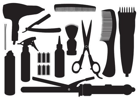 beauty salon: Conjunto de accesorios de peluquer�a Vectores