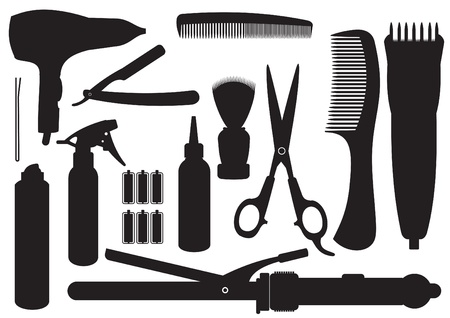 Set Of Hairdressing Accessories Vector