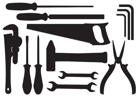 steel workers:  Black Silhouettes of Hand Tools Kit Illustration
