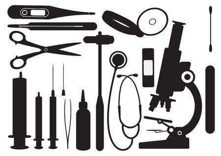 spital ger�te: Schwarze Silhouetten Medical Set Illustration
