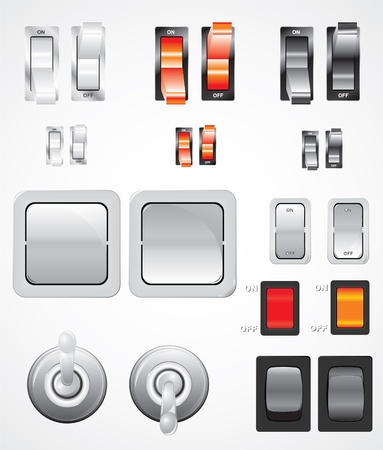 set of realistic switches illustrated Stock Vector - 11310298