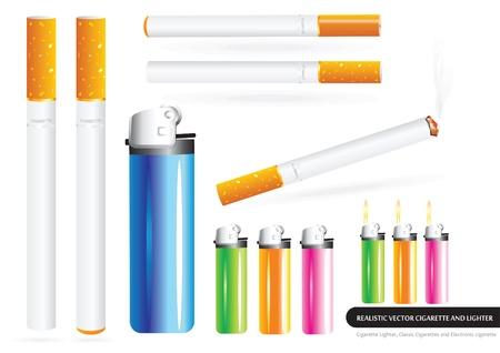 ljusare: Klassiska Cigaretter, elektronisk cigarett och tändare Illustration