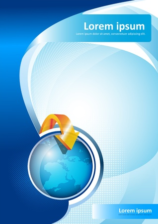 Brochure Background With Globe Vector