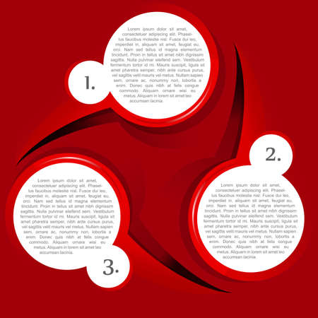 gradual: Vector red background with three levels circular chart