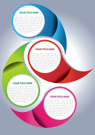 Vector brochure page design concept for four texts