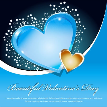 Beautiful Valentines Day Blue Background With heart Vector
