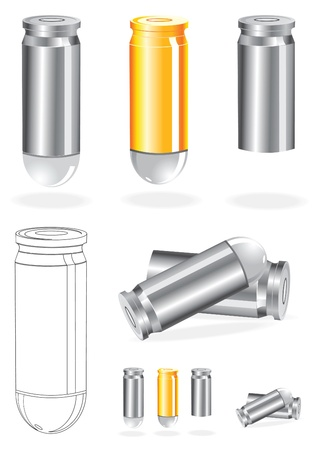 Set of Silver And Gold Bullets Vector