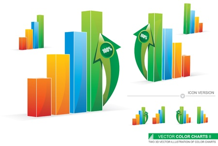 Two 3D Illustration Of Color Charts Vector