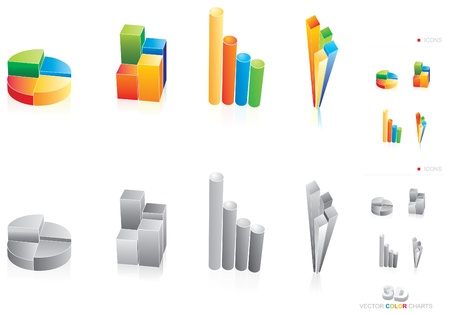 Four illustration of color charts Vector