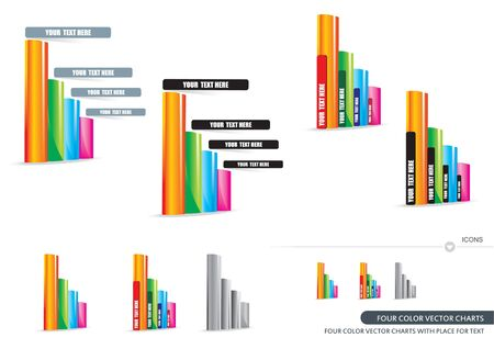 Four Color Charts With Place For Text Vector