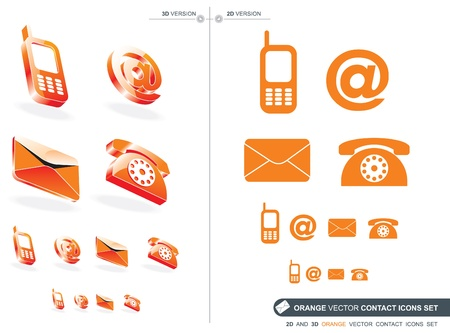 2D and 3D Orange contact icons set Vector