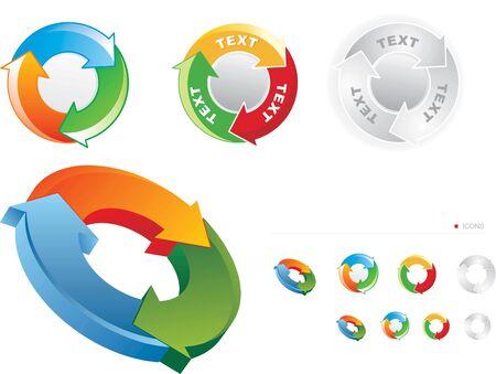 arrow circle diagram: Set of stylized recycling symbols