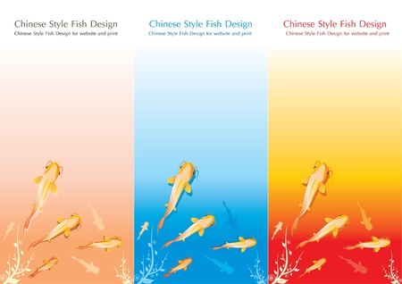 chinese writing: Chinese Style Fish Design for Website and Print