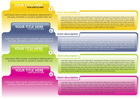 descriptions: Vector background with colored tabs for the four texts