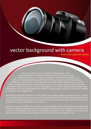 디자인: 디지털 카메라와 벡터 빨간색 배경 일러스트