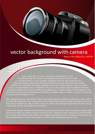 dslr camera: Vector Fondo Rojo con c�mara digital