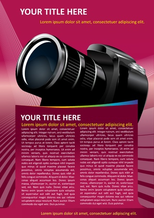 catalogue: Pink vector background with DSLR Camera for text
