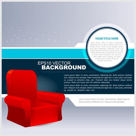 furnishing: Vector Abstracte Achtergrond Met Red Chair voor Tekst