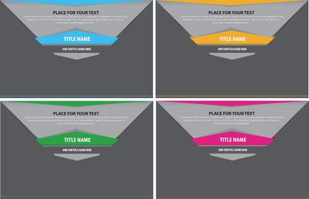 set of four abstract background for text with tabs Vector
